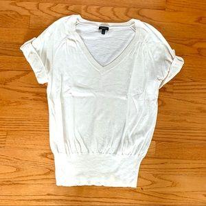 Talbots V-Neck Roll Sleeve Cream Sweater in Sz XS